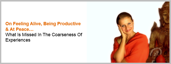 On Feeling Alive, Being Productive & At Peace - What Is Missed In The Coarseness Of Experiences